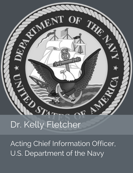 Seal of the U.S. Department of the Navy in place of the official head shot of Dr. Kelly Fletcher, Chief Information Officer of the U.S. Department of the Navy