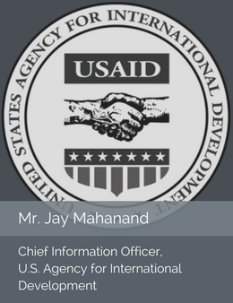 Seal of the Department of Labor in place of official head shot of Mr. Jay Mahanand, Chief Information Officer of the U.S. Agency for International Development