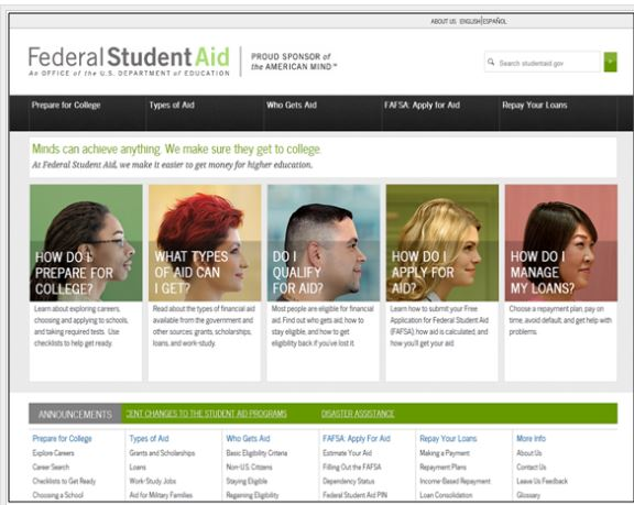 StudentAid.gov: Improving the College Financing Experience