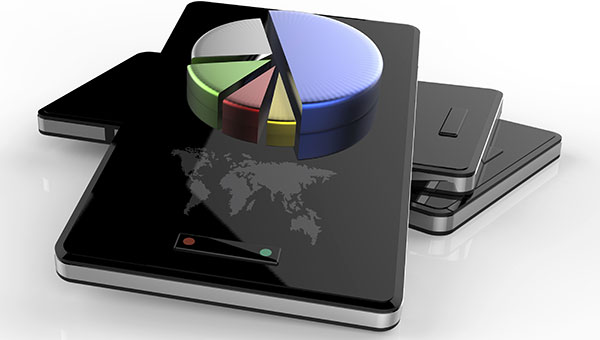 3-D mobile smart phones and pie chart