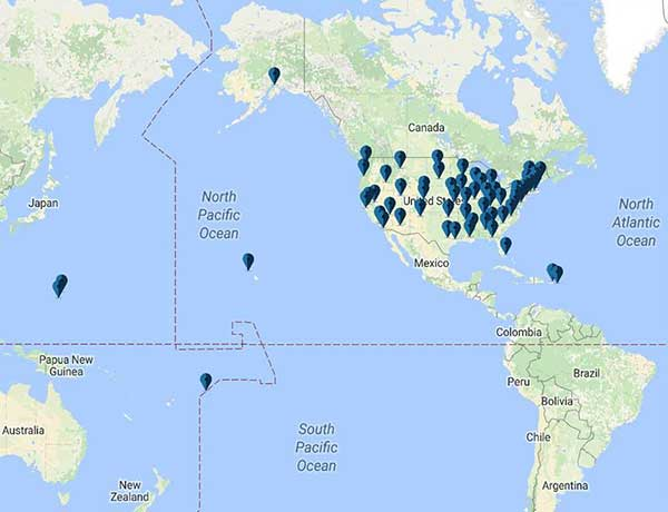 Interpol Washington Map Of U S Office Locations Across The United States And Its Territories