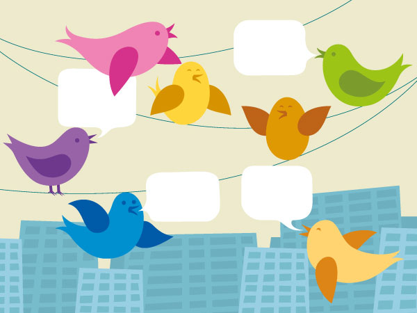 An illustration of various birds having a meeting on telephone wires above a cityscape.