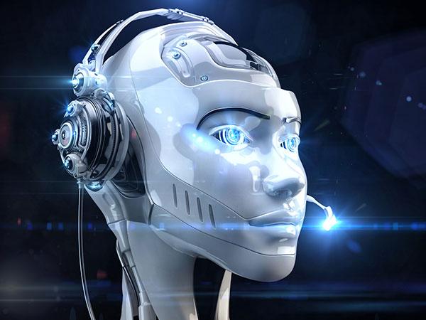 Futuristic worker of call-center.