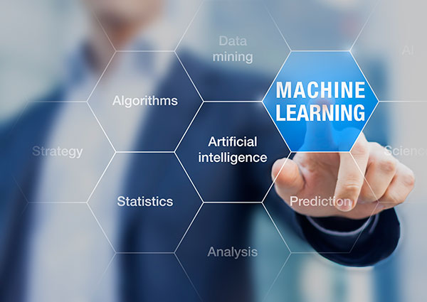 Machine learning improves artificial intelligence ability for predictions.