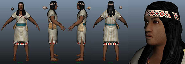 Image of a 3-D character model used to illustrate and animate the chaski runners used in the game.