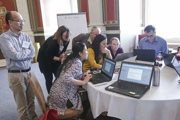 The Phyllis Diller team works with OpenRefine at Hack-to-Learn, May 17, 2017.
