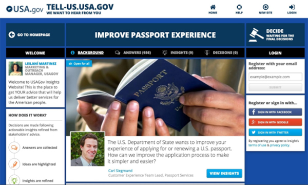 Screencapture of USAgov research software tool for State Passport Services.