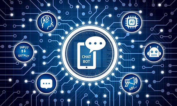 Chatbot technology concept on electric circuit background surrounded by related AI and chat icons.