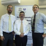 """International Center for Integrated Water Resources Management (ICIWaRM), under the auspices of UNESCO, team at the """"Water Cooperation in the Nile Basin-from Concepts to Action"""" workshop. Pictured left to right: Dr. Aleix Serrat Capdevila, Research Professor at ICIWaRM partner University of Arizona; Dr. Bisher Iman, Deputy Secretary of UNESCO's International Hydrological Programme; Dr. Hal Cardwell, Director Conflict Resolution and Public Participation Center of Expertise at the USACE Institute for Water Resources."""