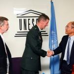 Major General Don T. Riley greeting Director-General Koïchiro Matsuura