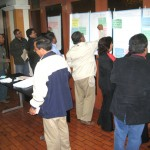 "Workshop participants ""voting"" on what they consider to be priority problems of the Chili basin. Photo credit: Aleix Serrat Capdevila."