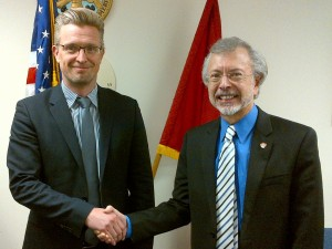 Mr. Hans Denker Thulstrup (left), UNESCO, is welcomed by Mr. Robert Pietrowsky (right), Director of the USACE Institute for Water Resources and the International Center for Integrated Water Resources Management (ICIWaRM), under the auspices of UNESCO.