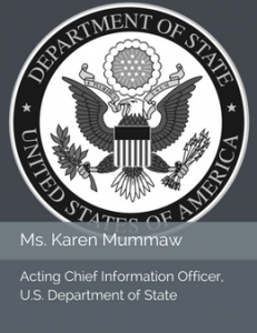 Seal of the U.S. Department of State in place of the official head shot of Ms. Karen Mummaw, Acting Chief Information Officer of the U.S. Department of State