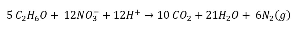 Ciclo do Nitrogênio: reação de oxidação do etanol pelo nitrato