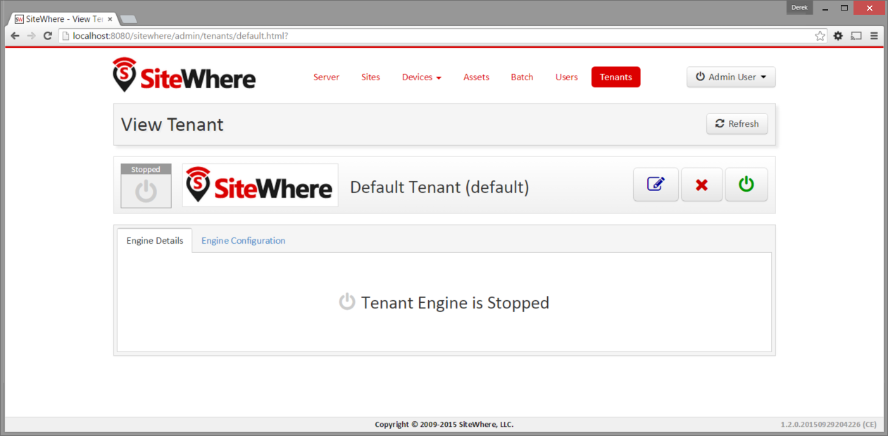 SiteWhere Tenant Details