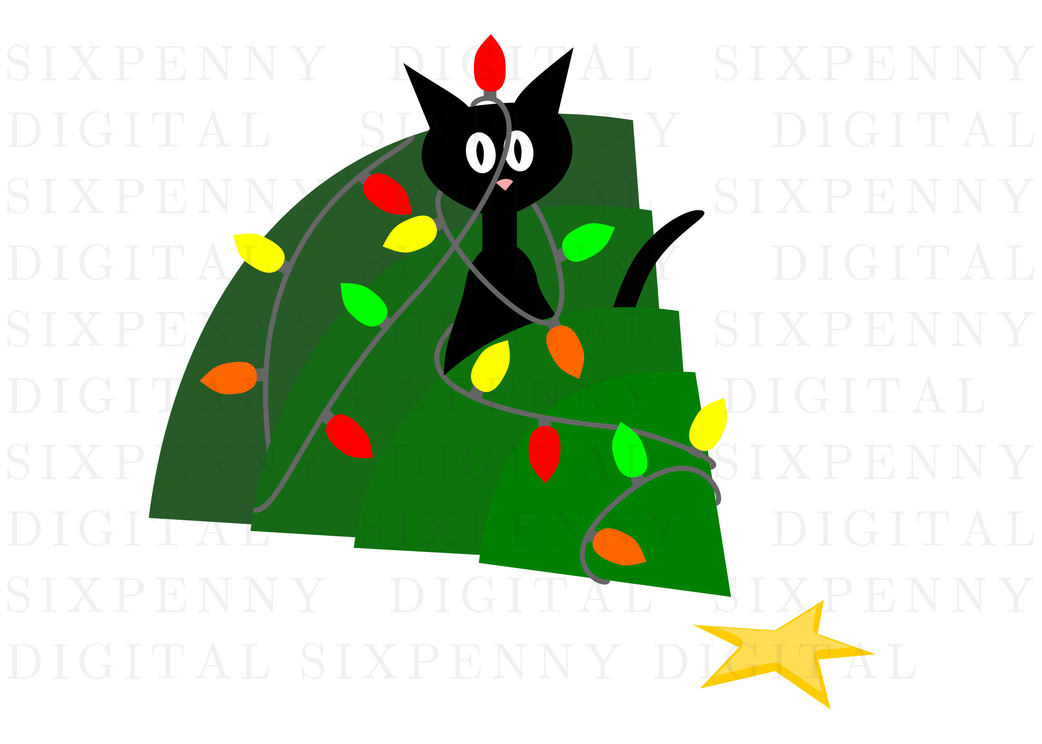 Image of Cat Christmas Card