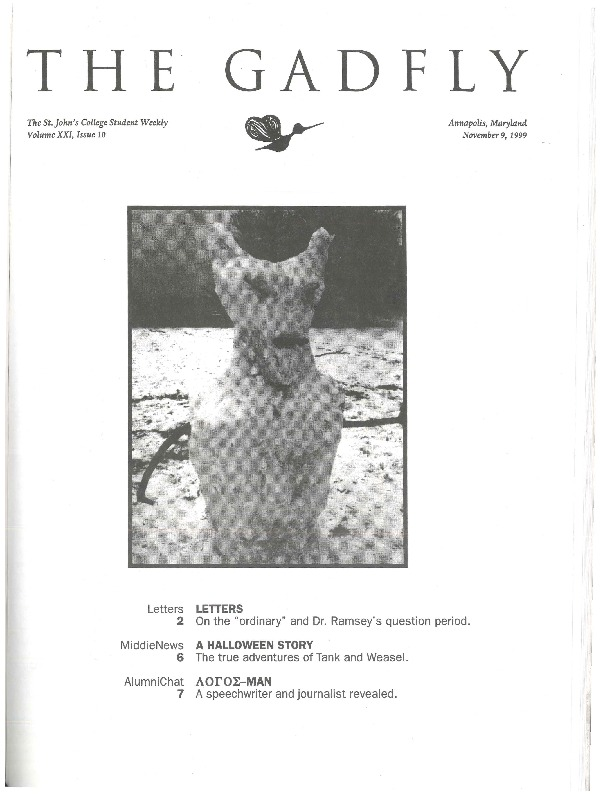 The Gadfly, Vol  XXI, Issue 10 · St  John's College Digital