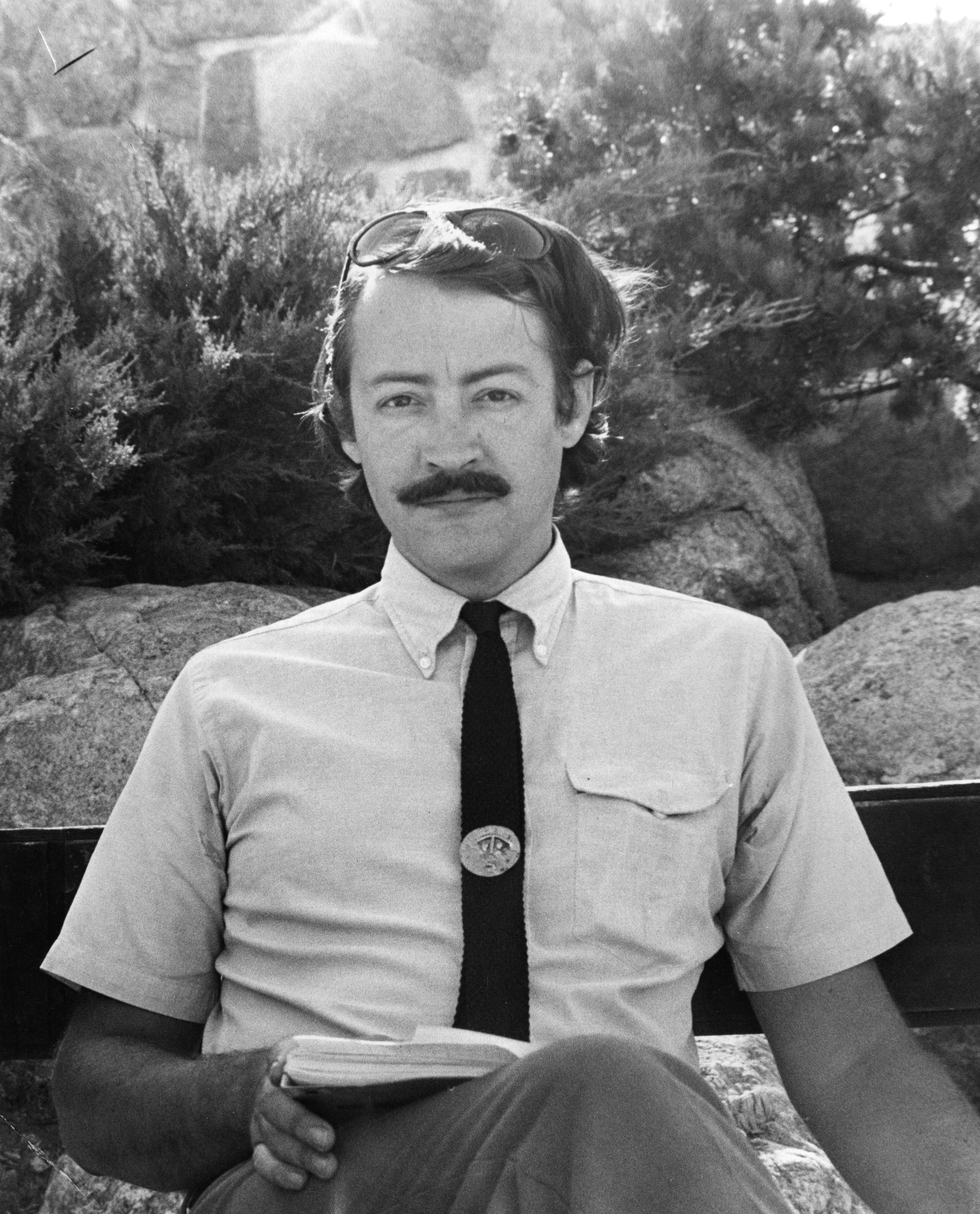 5e3d07e490a90 David C. Jones Seated outside on Campus, St. John's College, Santa Fe, New  Mexico