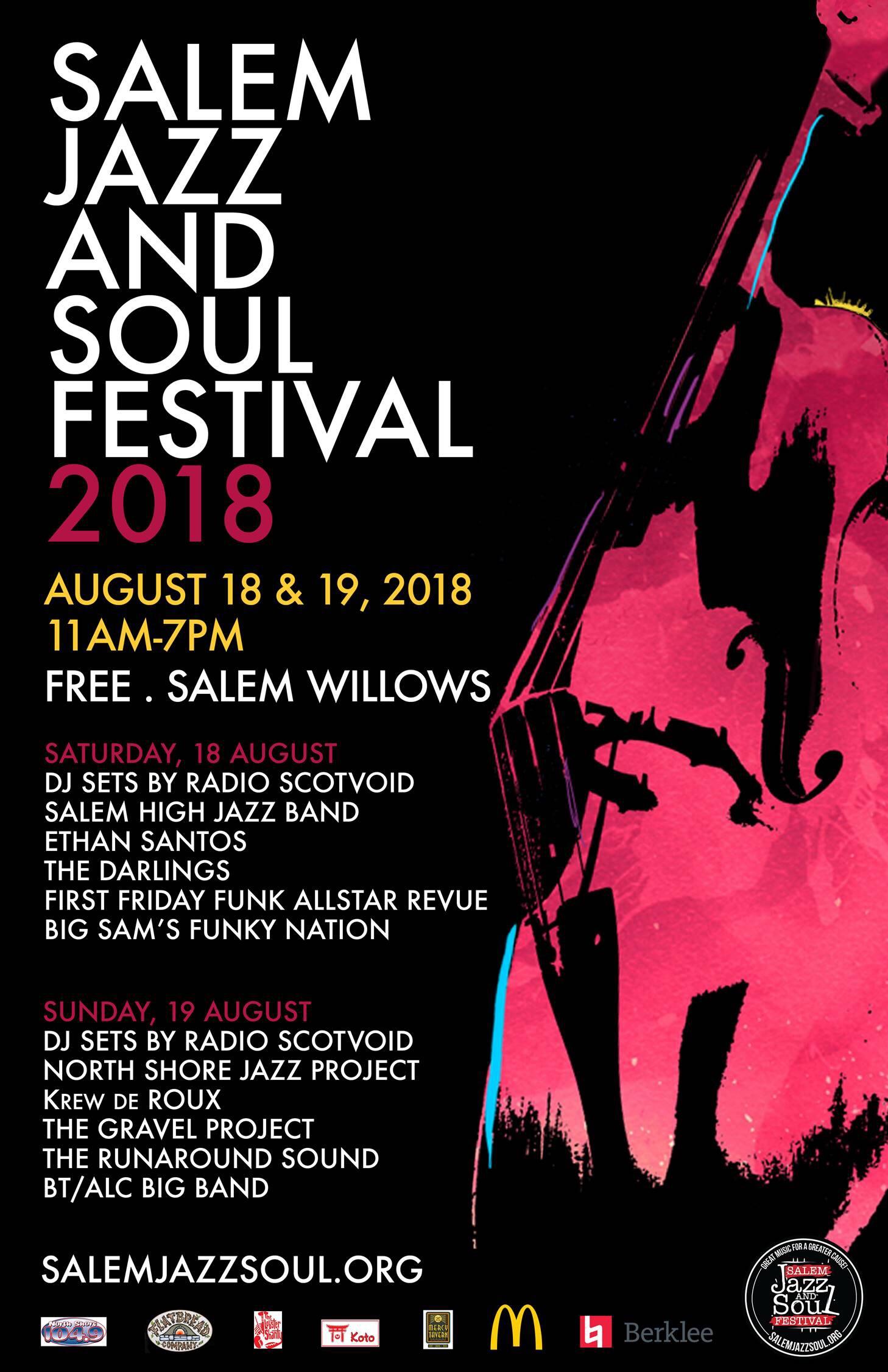 2018 Salem Jazz And Soul Festival Schedule Of Events Salem Jazz