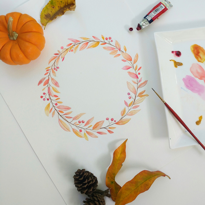 Watercolor Fall Wreaths