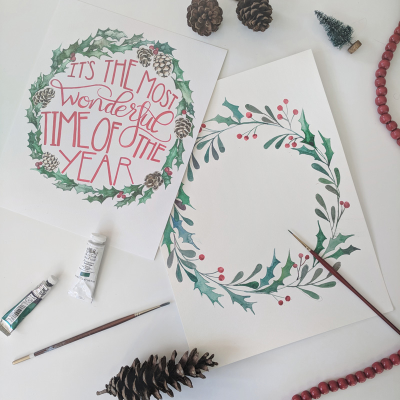 Watercolor Holiday Wreaths