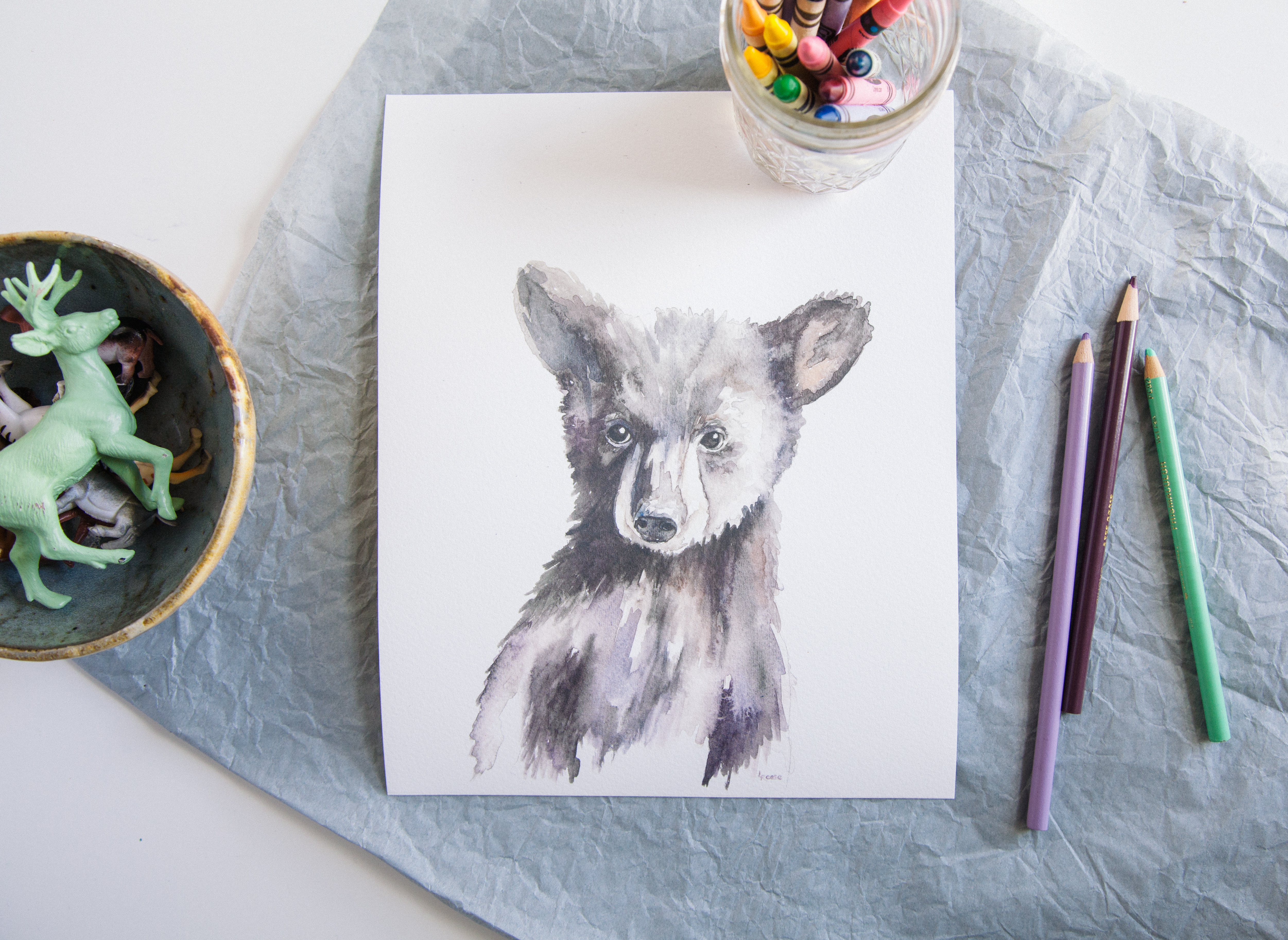 Watercolor Bear Cub
