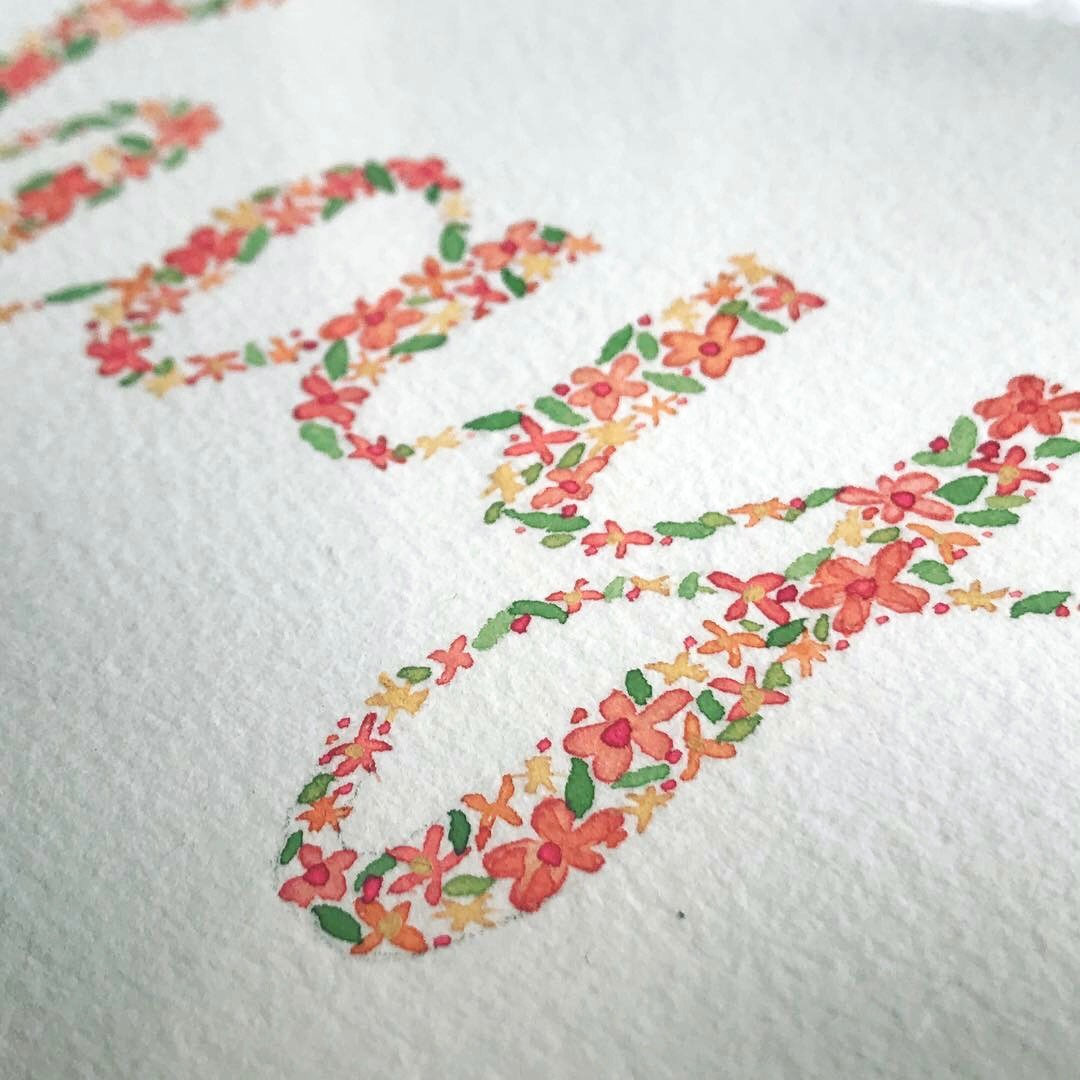 Floral Watercolor Name Prints