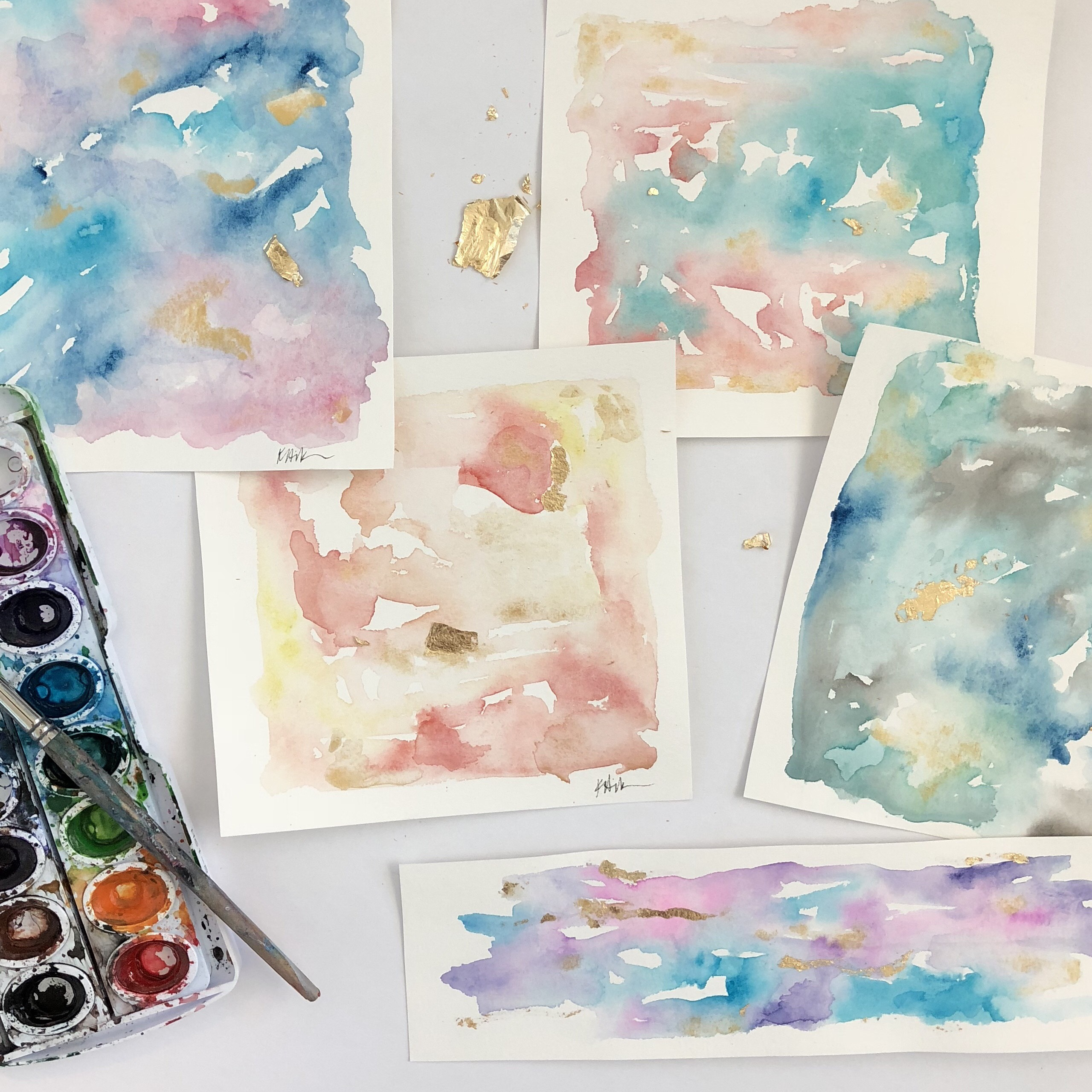 Abstract Watercolor Prints with Gold Leaf