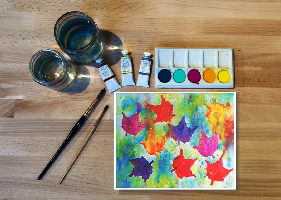 Watercolor: Abstract Fall Leaves