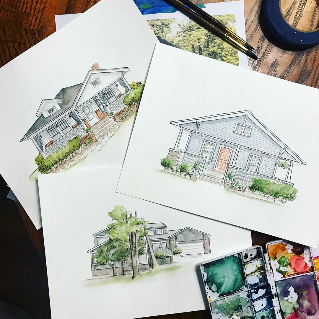 Watercolor House Portraits