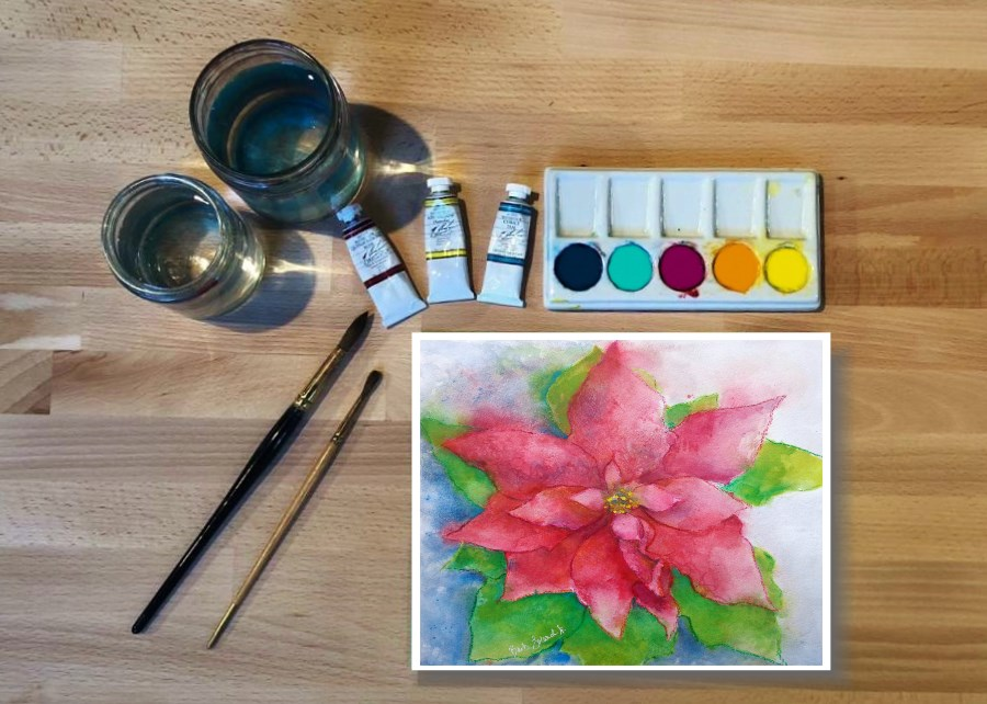 Watercolor Holiday Poinsettia