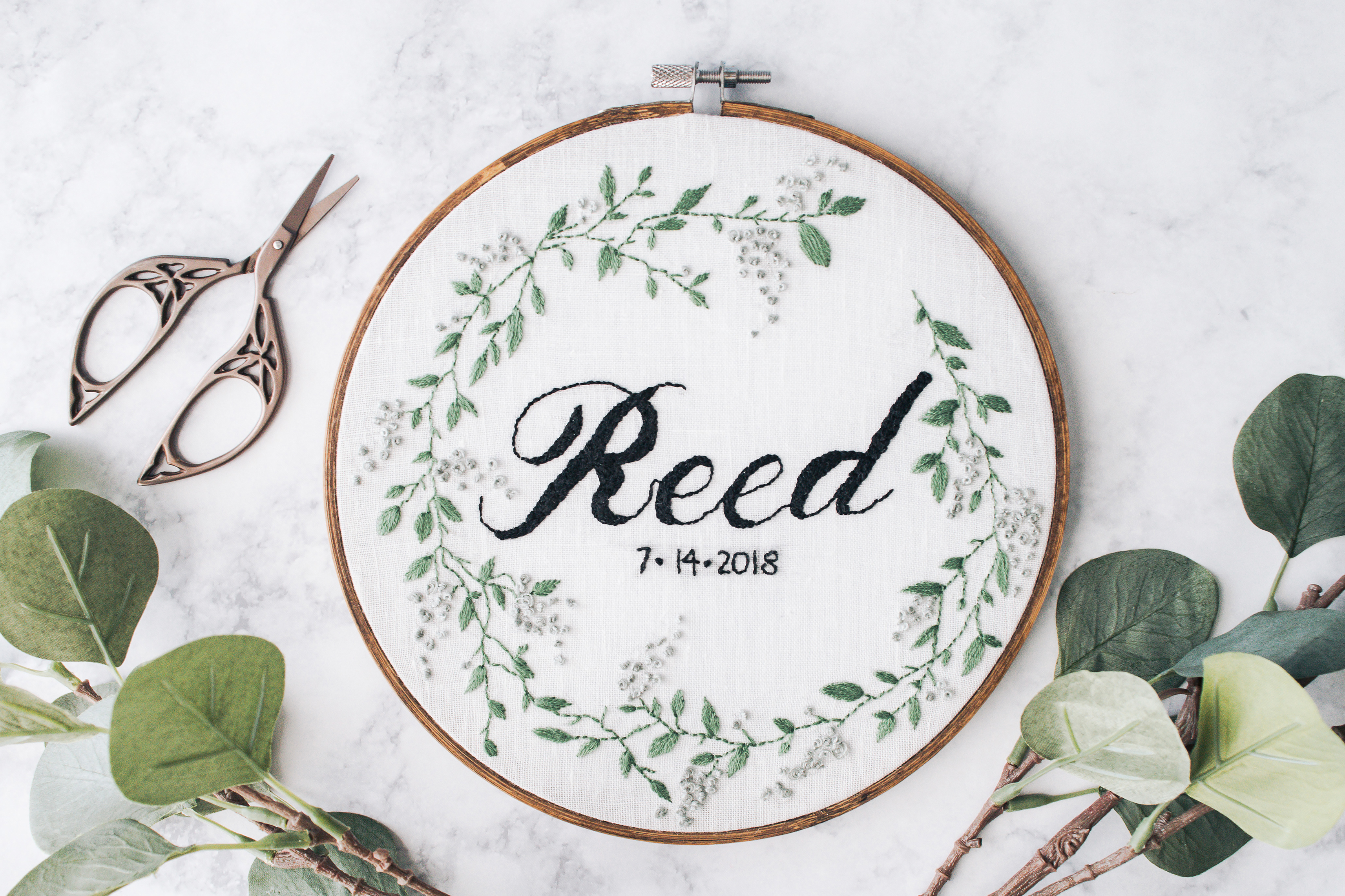 Hand Embroidered Calligraphy