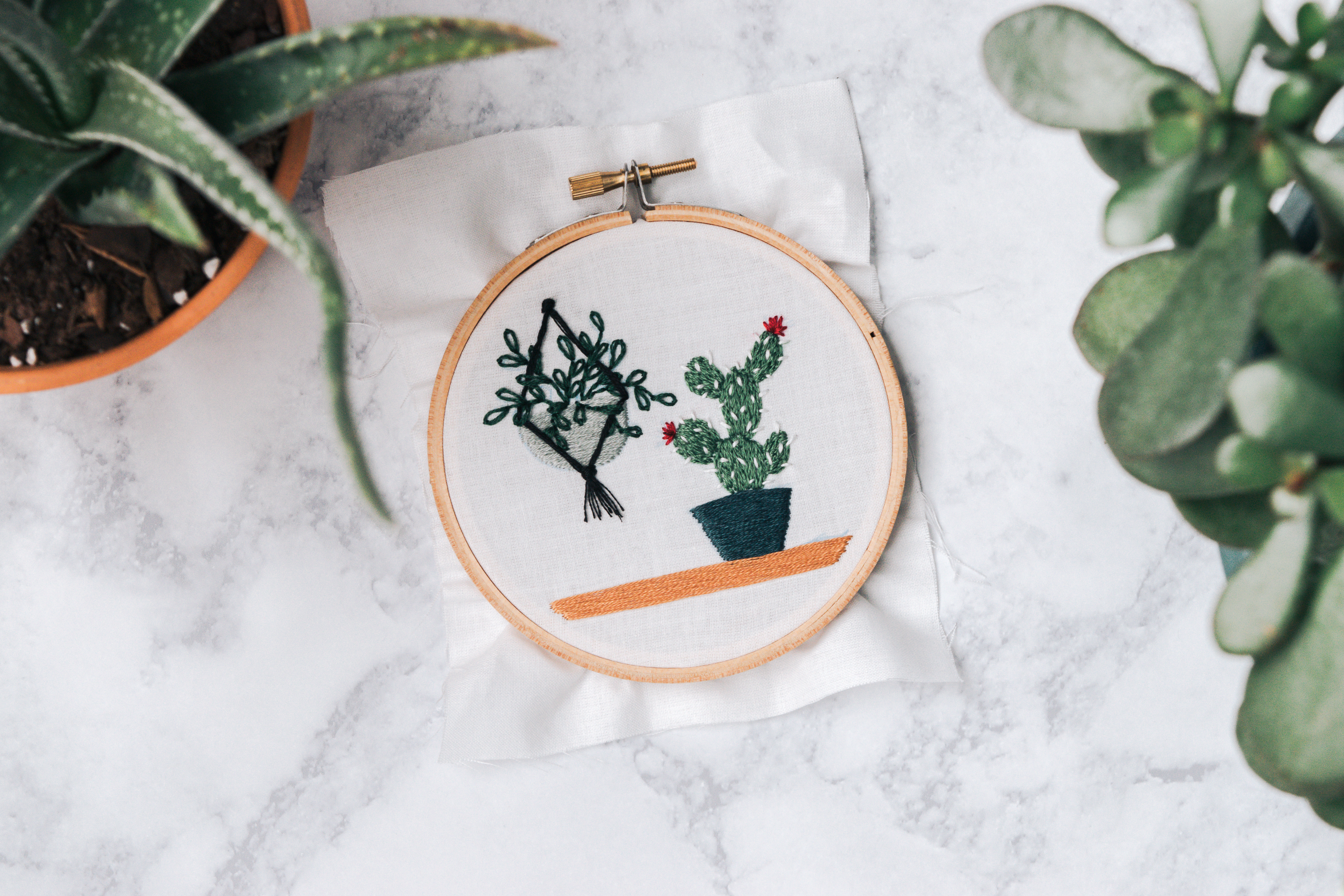 Hand Embroidered Succulents