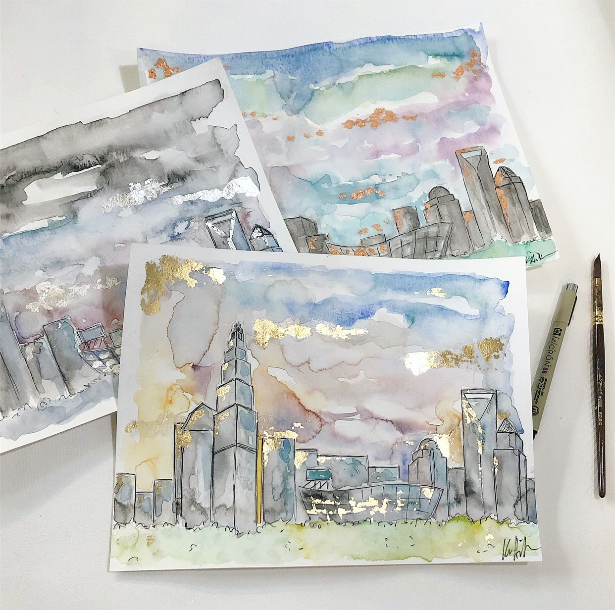 Watercolor Skylines with Gold Leaf