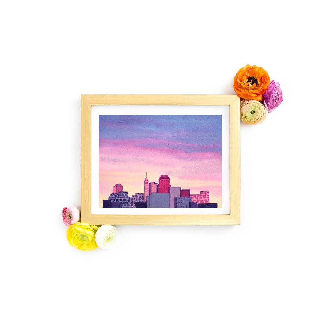 Watercolor Skyline Art