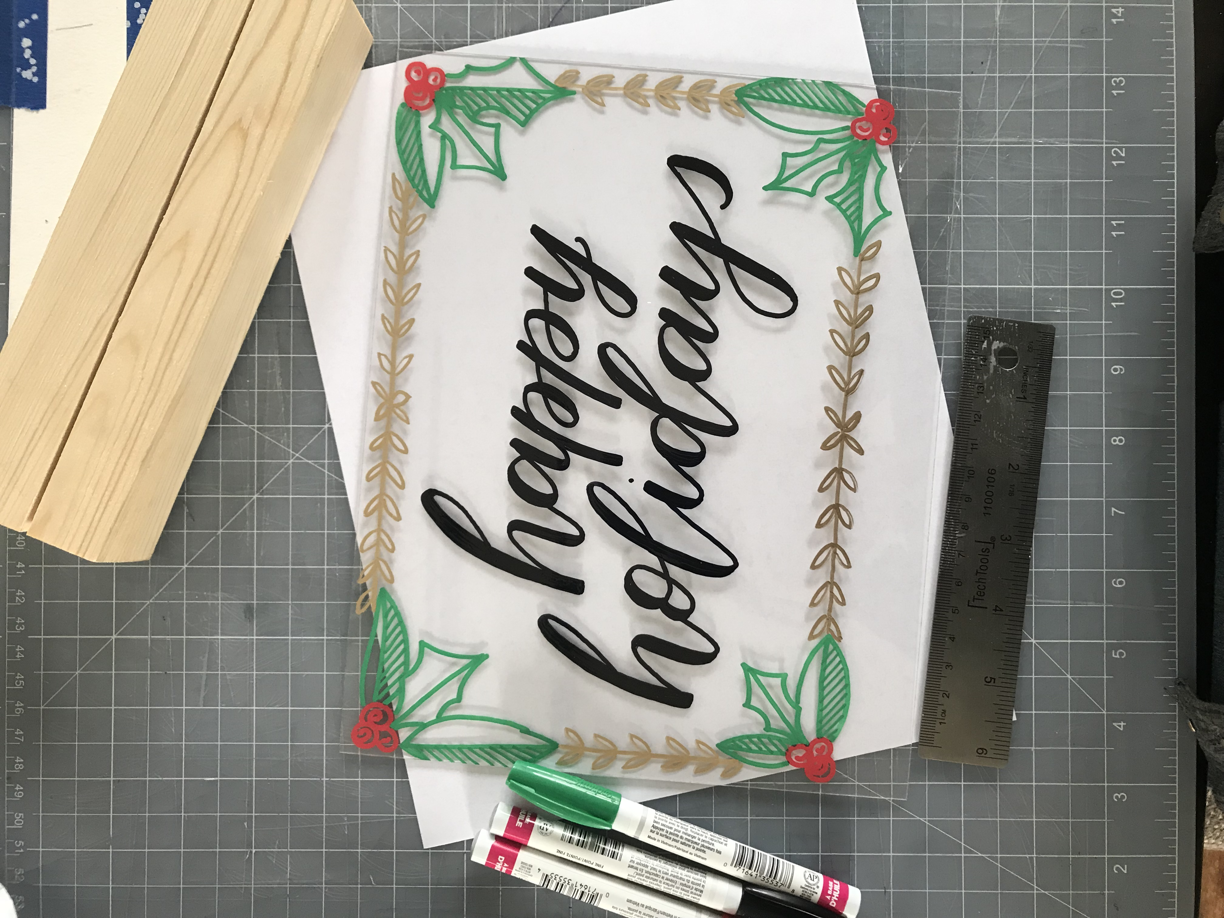 Holiday Handlettered Acrylic Signs