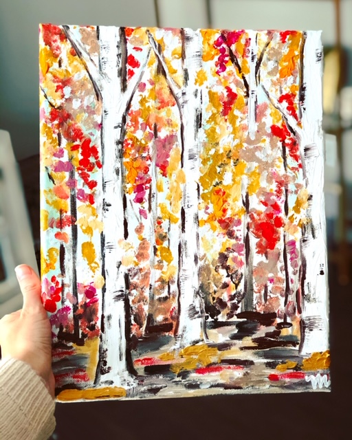 Abstract Birch Tree Art