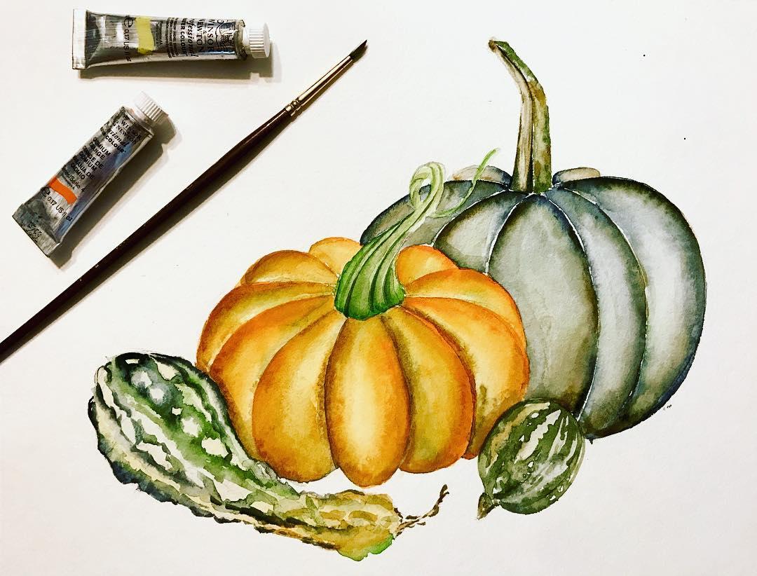 Watercolor Pumpkins & Gourds