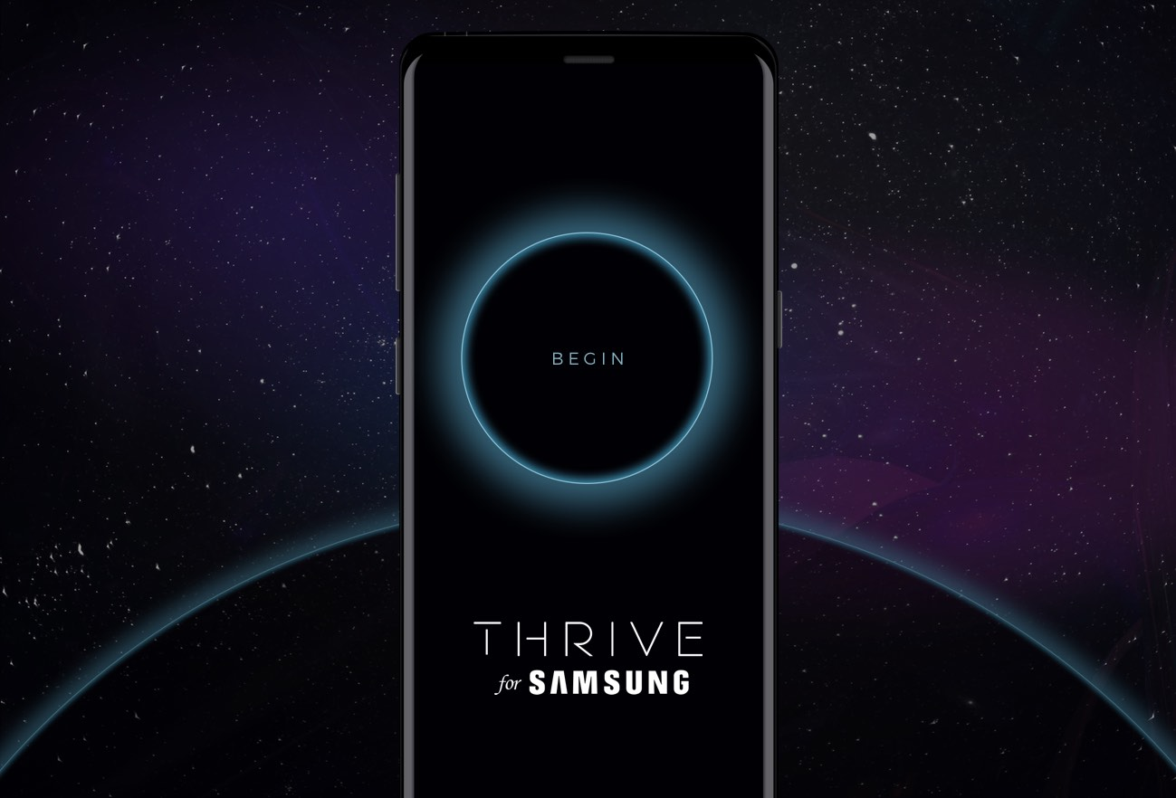 A phone displaying the Thrive App for Samsung.