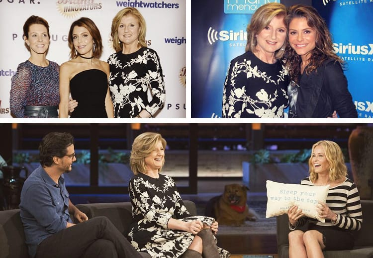 A collage of Arianna Huffington with celebrities like Chelsea Handler and Bettheny Frankel at various events.
