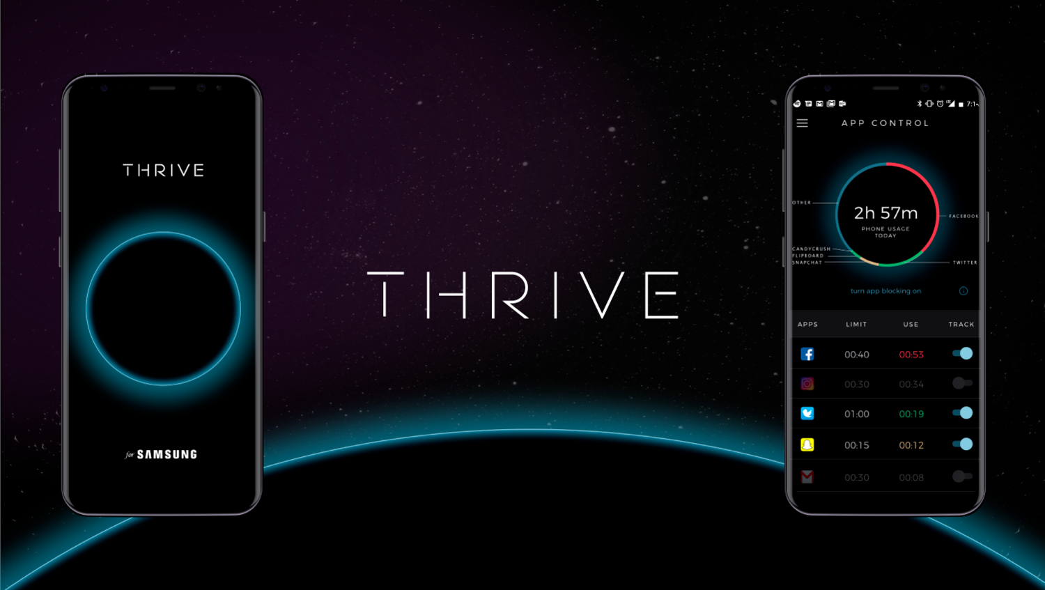 The Thrive App can track how much time you spend on and off your phone