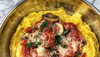 creamy polenta with sausage and mushrooms