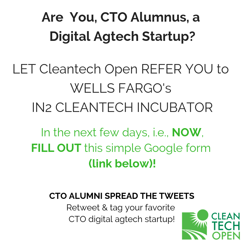 URGENT! Tell a DIGITAL AGTECH CTO Alumnus to FILL OUT SHORT FORM ASAP to Apply for CTO Referral