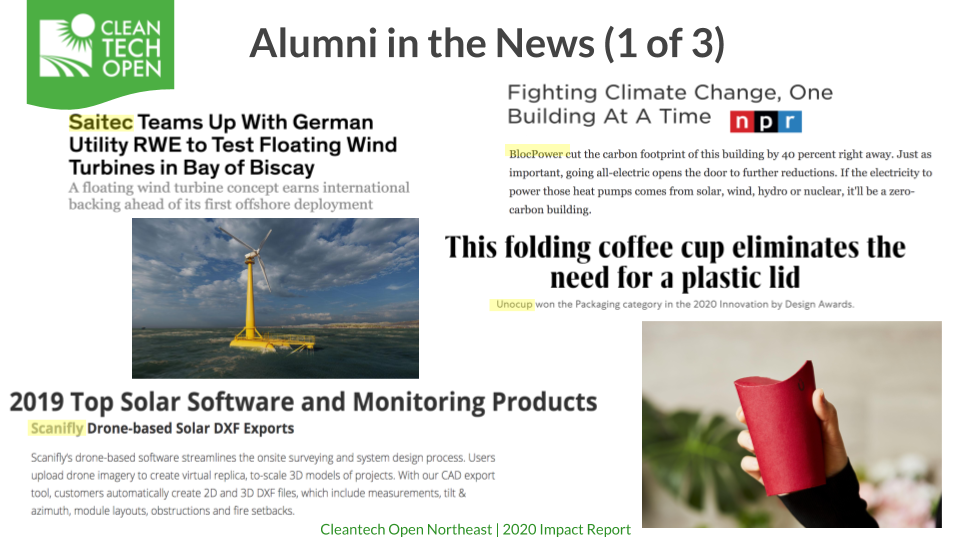 2020 Cleantech Open Northeast Alumni in the News