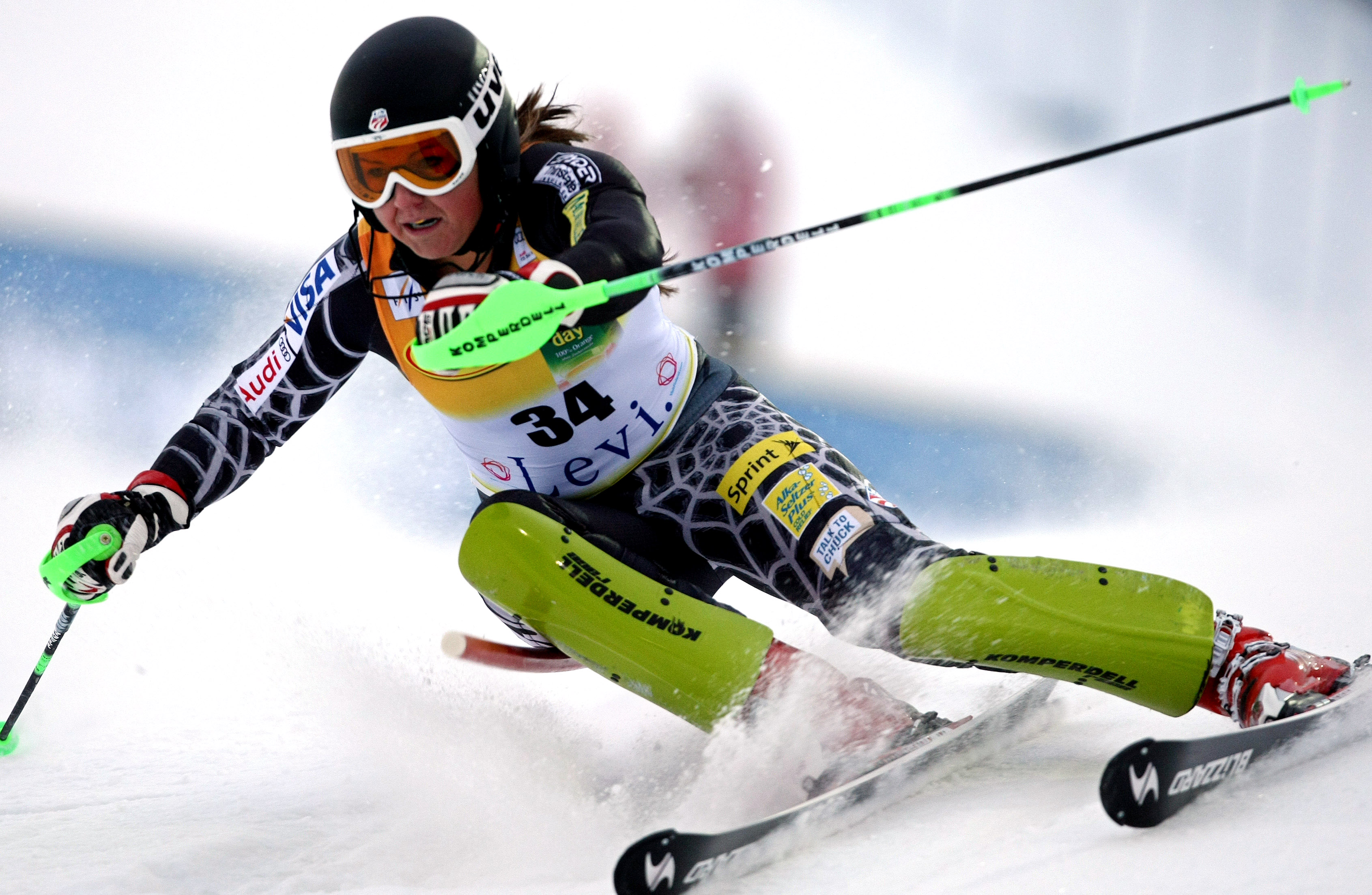 GEPA-14110912063 - LEVI,FINNLAND,14.NOV.09 - SKI ALPIN - FIS Weltcup, Slalom der Damen. Bild zeigt Sterling Grant (USA). Foto: GEPA pictures/ Walter Luger