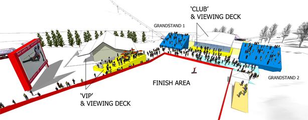 Rendering of new grandstands and VIP areas. Credit: Zehren Associates