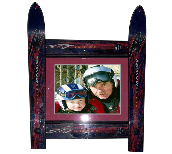 Handcrafted picture frames made from recycled skis