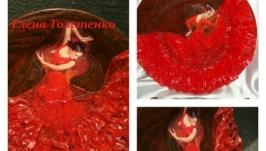 Тарелка «Девушка танцующая фламенко в красном»