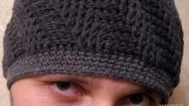 Комплект теплая шапка вязаная и снуд Серый кашемир