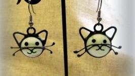 Сережки вітражні Котик